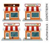 supermarket  bakery  pizzeria ... | Shutterstock .eps vector #1069078094