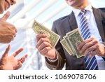great job  good boss encourages ... | Shutterstock . vector #1069078706
