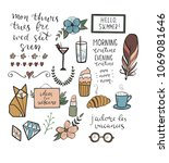 set of hand drawn elements for...   Shutterstock .eps vector #1069081646