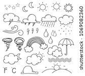 weather doodle vector set. | Shutterstock .eps vector #1069082360