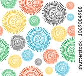 colorful stylized ethnic sun... | Shutterstock .eps vector #1069084988
