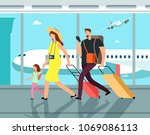 traveling family with luggage... | Shutterstock .eps vector #1069086113