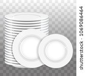 stack of white plates and two... | Shutterstock .eps vector #1069086464