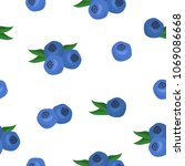 seamless pattern with blueberry.... | Shutterstock .eps vector #1069086668