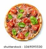 freshly baked ham pizza... | Shutterstock . vector #1069095530