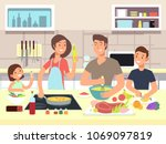 happy family cooking. mother... | Shutterstock .eps vector #1069097819