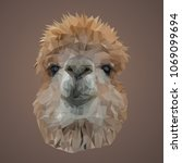 alpaca on a brown background... | Shutterstock .eps vector #1069099694