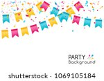 bunting party flags with... | Shutterstock .eps vector #1069105184