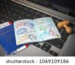visa online application concept.... | Shutterstock . vector #1069109186