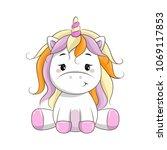 vector cartoon unicorn. clipart ... | Shutterstock .eps vector #1069117853