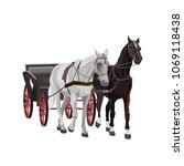 horse drawn carriage. vector... | Shutterstock .eps vector #1069118438