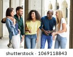 multi ethnic group of young... | Shutterstock . vector #1069118843