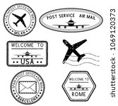 postmarks and travel stamps.... | Shutterstock .eps vector #1069120373