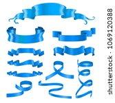 blue ribbon banners. silky... | Shutterstock .eps vector #1069120388