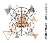 abstract geometric head of... | Shutterstock .eps vector #1069121870