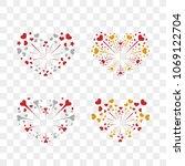 beautiful heart fireworks set.... | Shutterstock .eps vector #1069122704