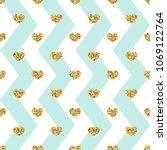 gold heart seamless pattern.... | Shutterstock .eps vector #1069122764