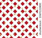 gold heart seamless pattern.... | Shutterstock .eps vector #1069122800