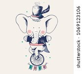 Cute Elephant Ridding On A...