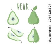 green pear hand drawn... | Shutterstock .eps vector #1069126529