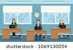 three woman employee of call... | Shutterstock .eps vector #1069130054