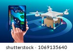 postal drone landed with carton ... | Shutterstock .eps vector #1069135640