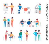 set of office workers... | Shutterstock .eps vector #1069140329