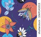 vector floral seamless pattern...   Shutterstock .eps vector #1069141013