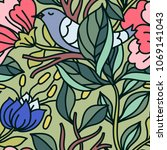 vector floral seamless pattern... | Shutterstock .eps vector #1069141043