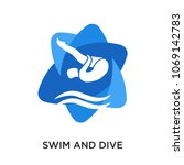swim and dive logo isolated on... | Shutterstock .eps vector #1069142783