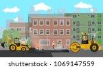 workers change the asphalt ...   Shutterstock .eps vector #1069147559