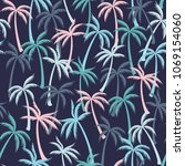 coconut palm tree pattern... | Shutterstock .eps vector #1069154060