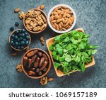 healthy vegan food   dry fruits ... | Shutterstock . vector #1069157189