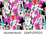 colorful plants flowers drawing | Shutterstock . vector #1069159310