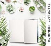 mock up of open magazine or... | Shutterstock . vector #1069167566