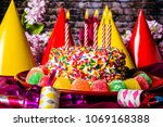 birthday cake with rainbow... | Shutterstock . vector #1069168388