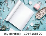 mock up of open magazine or... | Shutterstock . vector #1069168520