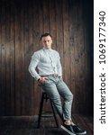 young business man in elegant... | Shutterstock . vector #1069177340