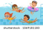 boys and girls in swimwear are... | Shutterstock .eps vector #1069181183