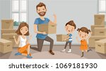 family moving packing and... | Shutterstock .eps vector #1069181930