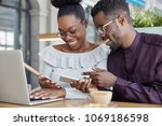 black woman and man have...   Shutterstock . vector #1069186598