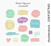 hand drawn grunge elements for... | Shutterstock .eps vector #1069187960