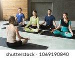 yoga teacher and beginners in...   Shutterstock . vector #1069190840