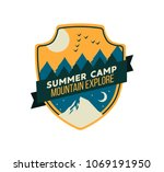modern shield forest camp badge.... | Shutterstock .eps vector #1069191950