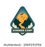 modern shield forest camp badge....   Shutterstock .eps vector #1069191956