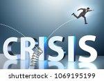 businessman jumping from spring ...   Shutterstock . vector #1069195199