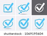 blue tick checkbox icons.... | Shutterstock .eps vector #1069195604
