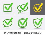 green tick checkbox icons.... | Shutterstock .eps vector #1069195610