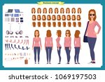 young woman  casual clothes.... | Shutterstock .eps vector #1069197503