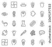 thin line icon set   idea... | Shutterstock .eps vector #1069197533